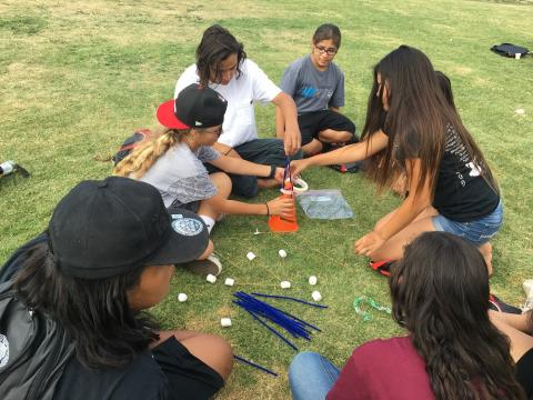 Teens at the Native Youth Gathering participate in some team building activities