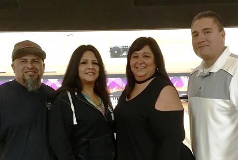 Team Empire of the Soboba Vegas bowling league is, from left, Felix Ortiz, Sally Ortiz, Dondi Silvas and Mike Castello