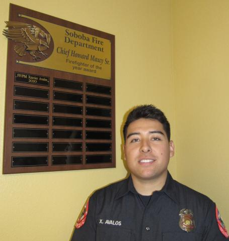 Xzavier Avalos, of Hemet, is the first recipient of the Soboba Fire Department Chief Howard Maxcy Sr. Firefighter of the Year award