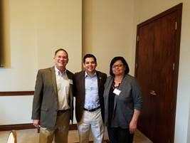 AMIHA Executive Director Dave Shaffer, Congressman Raul Ruiz and AMIHA Executive Board Chair Francie Diaz at the 9th annual Strategic Planning & Housing Forum in Pala on Sept. 21