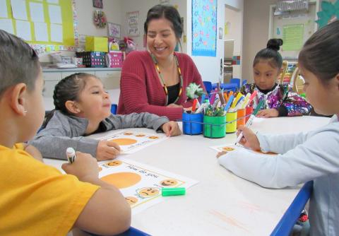 Julissa Garcia interacts with young students at the Soboba Tribal Preschool on Feb. 25