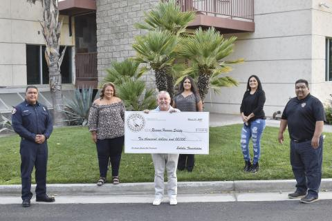 Ramona Humane Society's President/CEO Jeff Sheppard accepted a grant from Soboba Foundation members at last year's charity golf tournament. The nonprofit has been chosen as a recipient again this year
