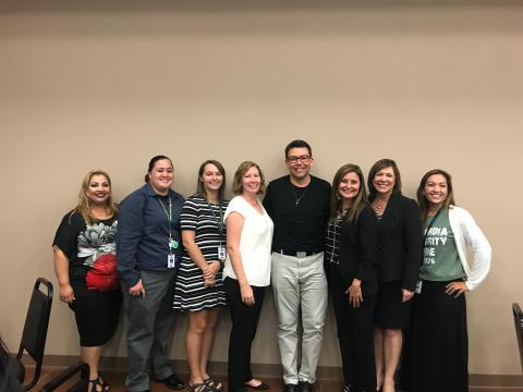 (l-r): Eva Angeles, MSJC academic advisor; Jennifer Aguilar, North Mountain Middle School counselor; Gayle Fleming, North Mountain Middle School counselor; April Phillips, San Jacinto High School counselor; Andrew Vallejos, Soboba Foundation sponsorship and higher education coordinator; Dr. Vanessa Gomez, SJUSD lead counselor; Diane Perez, SJUSD superintendent; Francisca Mena, Estudillo/Hyatt elementary counselor