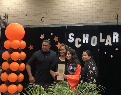 Julie Moreno accepts a proclamation from the Soboba Band of Luiseño Indians and a scholarship for $2,500 from Soboba Foundation members (left to right) Jacob Briones, Dondi Silvas and Geneva Mojado at San Jacinto High School's Senior Awards night on June 4