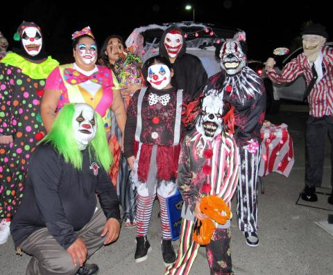 The Arviso family set up a Clown Carnival display at the Soboba Tribal Trunk or Treat event on Oct. 24. They won first prize for their decorating skills