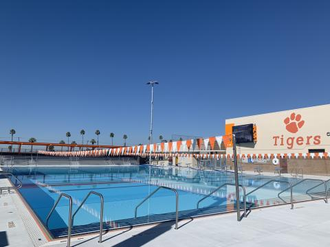 The swimming pool at San Jacinto High School's new Soboba Aquatics Center measures 25 yards by 38 meters and will allow for many sporting and fitness activities for students