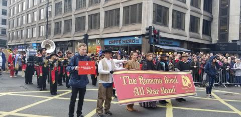 The Ramona Bowl All Star Band marched in the London New Year's Day Parade this year