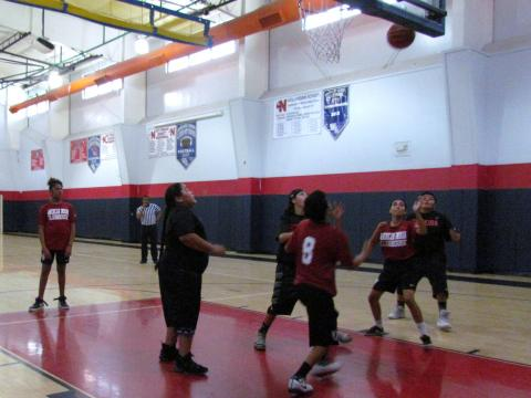 Teams from Soboba and UAII play ITS basketball at the Soboba Sports Complex