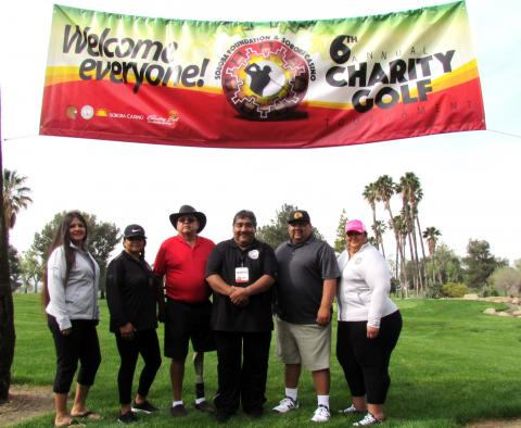 Soboba Foundation members get ready for day 2 of the Soboba Foundation & Soboba Casino 6th annual Charity Golf Tournament on April 4 at The Country Club at Soboba Springs. From left, Sally Ortiz, Geneva Mojado, Scott Cozart, Patrick Placencia, Isaiah Vivanco and Dondi Silvas