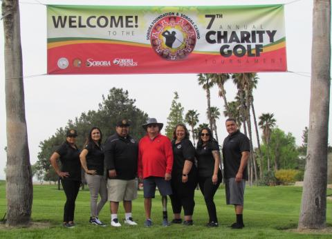 Soboba Foundation members before the start of the first day of the Soboba Charity Golf Tournament on March 27