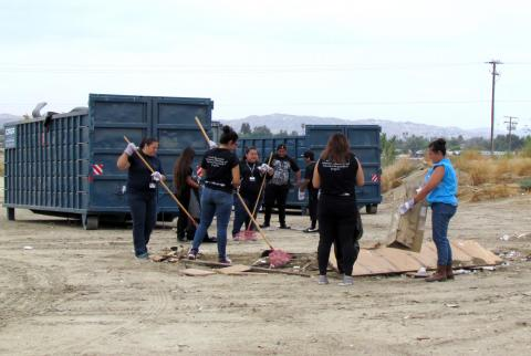 Soboba TANF youth pitch in to help during the annual Community Cleanup Event at the Soboba Reservation
