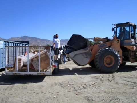 Volunteers helped members of the Soboba Tribal Environmental Department sort through and dispose of items that were collected during the department's annual Community Cleanup Day at the Soboba Indian Reservation on July 16