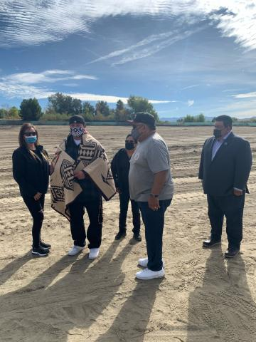 A groundbreaking ceremony for the new Soboba Health Clinic took place on Nov. 20. Attendees included, from left, Riverside-San Bernardino County Indian Health Inc. Board Delegate Julie Parcero, Wayne Nelson who did the blessing, RSBCIHI Board President Sherry Salgado, RSBCIHI Board Delegate Charles (Chuck) Castello and Soboba Band of Luiseño Indians Tribal Council Chairman Isaiah Vivanco