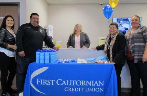 Members of the Soboba Tribal Council attended the grand opening of First Californian's Soboba Branch on Friday, April 6. From left, Monica Herrera, Isaiah Vivanco, Branch Manager Deborah Tschann, behind the counter, Rose Salgado and Kelli Hurtado