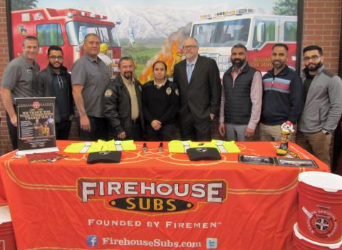 A Firehouse Subs Public Safety Foundation grant for nearly $15,000 of top-notch safety equipment was presented to Soboba Department of Public Safety at the Beaumont Marketplace Firehouse Subs restaurant on Nov. 22. From left, Jim Fick, Baldeep Singh, Michael Castello, Gerardo Alvarez, Daril Merlo, Brian Herritt, Jinder Singh, Shinder Singh and Varinder Singh