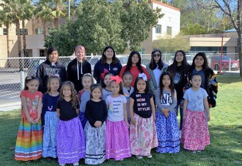 High school students from Noli Indian School made camp dresses for Soboba Tribal Preschool kindergarten students. The collaborative project between the two schools has been in place for about five years