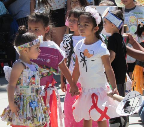Soboba Tribal Preschoolers showed off outfits they had created from recycled items during the 12th annual Soboba Earth Day on April 26