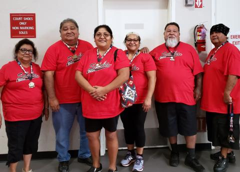 "Soboba Team 1 at Barona Tournament with participation medals. From left, Carlene Masiel, Gary Placencia, Sandy Boniface, Joyce Placencia, Charles Resvaloso and John ""Duke"" Briones. Not pictured, Freda Miranda"