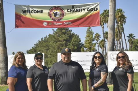 Soboba Foundation members get ready to tee off during the first day of the Soboba Foundation &amp; Soboba Casino Resort 8<sup>th</sup> annual Charity Golf Tournament at the Soboba Springs Golf Course on August 30. From left, President Dondi Silvas, Member-at-Large Sally Moreno-Ortiz, Member-at-Large and Tournament Director Isaiah Vivanco, Member-at-Large Monica Herrera and Secretary Michelle Modesto. (All were asked to remove their face coverings for the photo.)