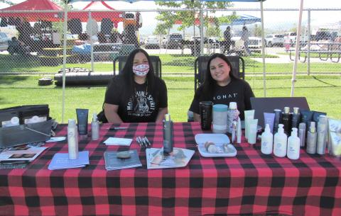 Naomi Silvas, right, is a MONAT representative and was helped by her sister, Janelle Salgado, at Soboba's 4th annual Health & Wellness Fair on April 29