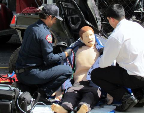 Soboba Fire's Joey Mendoza, left, assists a paramedic candidate with his skills testing on a state-of-the-art mannequin during a recent day of hiring at the Soboba Reservation
