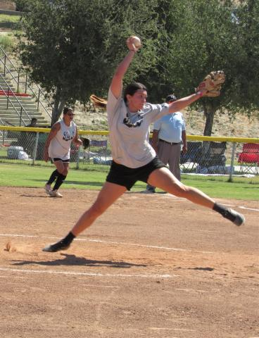 A Dig It pitcher throws a softball to try and strike out a batter from the Morongo women's team during the NIAA 2021 All Native Fastpitch Softball tournament at Soboba Sept. 18