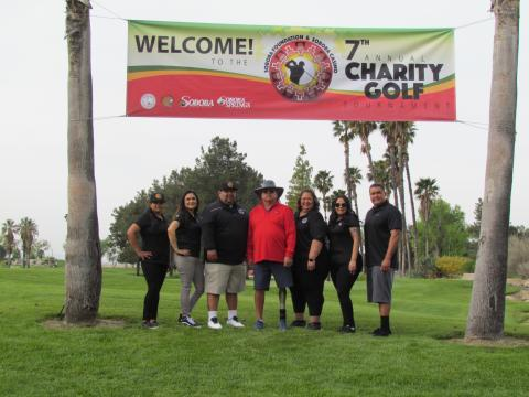 Last year's charity golf tournament saw two full days of fun for players and volunteers as Soboba Foundation members got ready to tee off. From left, Geneva Mojado, Monica Herrera, Isaiah Vivanco, Scott Cozart, Dondi Silvas, Michelle Modesto and Jacob Briones. Photo courtesy of the Soboba Band of Luiseño Indians.
