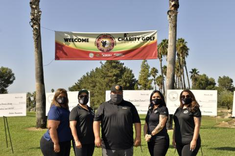 Members of the Soboba Foundation board and Soboba Tribal Council at the start of 2020's charity golf tournament