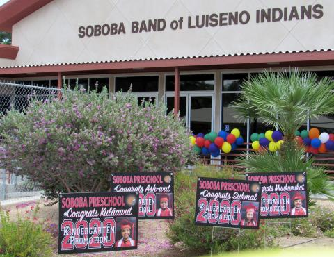 Soboba Tribal Preschool kindergartners were welcomed to a personalized promotion ceremony on June 25 with colorful balloons and lawn signs for each student