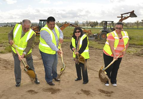 Soboba Tribal Chairman Scott Cozart, Vice-Chair Isaiah Vivanco, Sergeant at Arms Rose Salgado, and Treasurer Kelli Hurtado break ground on the tribe's new replacement casino & hotel complex at the Soboba Reservation near San Jacinto, California, Feb. 28