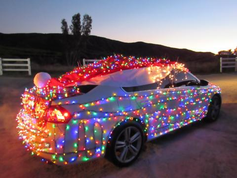 Trista Marquez was one of the winners of the Soboba Light Parade on Dec. 19. Her decorated car included an oversized Santa Hat for the roof, which she made herself