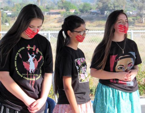Bird Dancers joined with Bird Singers during an event to bring awareness to the cause of Missing and Murdered Indigenous Women on May 5 at the Soboba Sports Complex