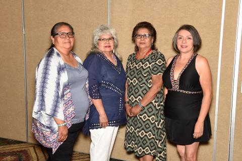 Models for the Soboba Elders Mother's Day Lunch and Fashion Show included, from left, Francine Miranda, Mary Masiel, Marilyn Arres and Suzanne Verdugo