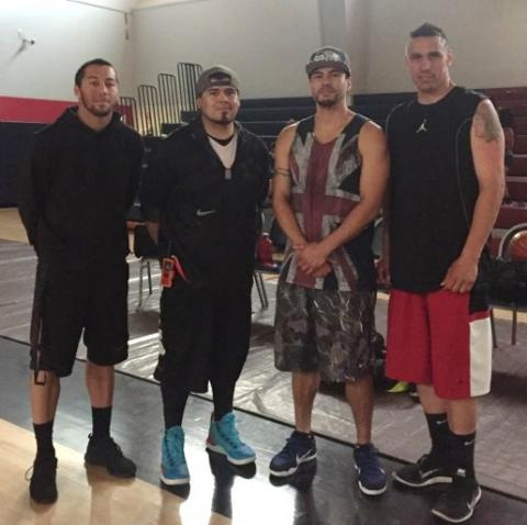Native American actor Martin Sensmeier made a special appearance at Soboba Movie Night. From left Gabe Smith, Ricardo Macias, Martin Sensmeier and Andy Silvas