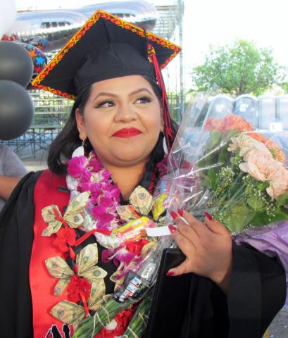 Noli Indian School salutatorian Evelyn Modesto following the commencement ceremony at Soboba Outdoor Arena on June 6