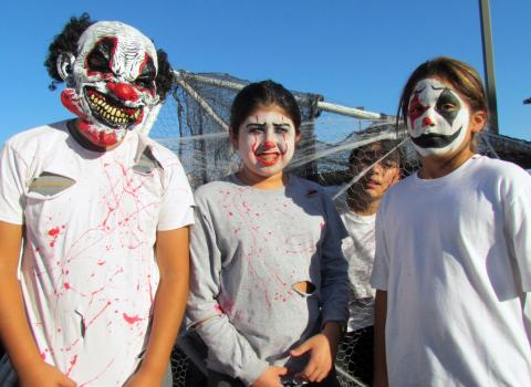 Noli Indian School sixth-graders took first place in the Homecoming Parade float contest, held Friday. From left, Christopher Lario, Joseph Morsa, Daigan Cyhan and Andrew Salgado-Lopez, all 11