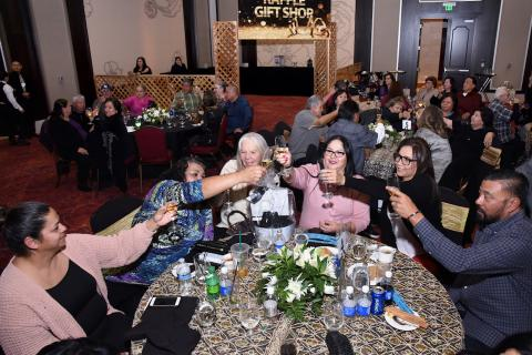 Guests ring in 2020 with a toast at the conclusion of a New Year's Eve Party at the Soboba Casino Resort Event Center on Dec. 29. Photo courtesy of Joan Fuller Photography.