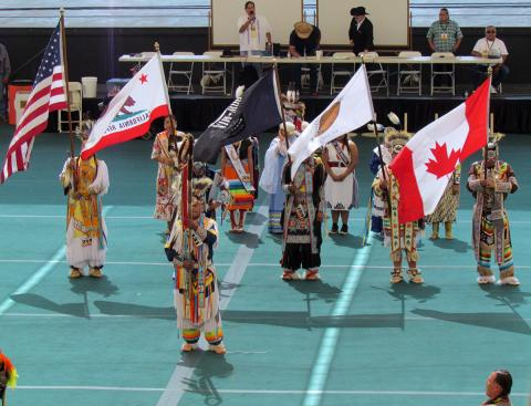 Saturday's Grand Entry at the 21st annual Soboba Inter-Tribal Powwow was led by an Eagle staff and color guard