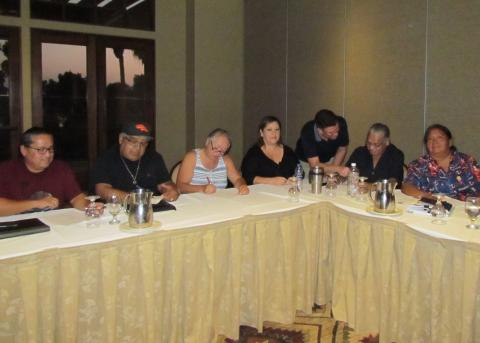 A recent Soboba Pow Wow Committee meeting at Soboba Springs Country Club included, from left, Glen Begay, Chuck Castello, Rosemary Morillo, Lynn Saenz, Andrew Vallejos, Darrell Lopez and Francine Miranda. Committee members not pictured are: Pamela James, Catherine Modesto, Geneva Mojado and Johnna Valdez