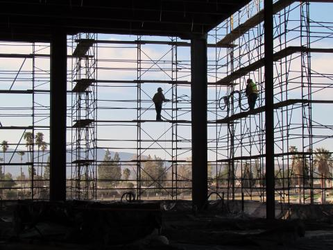Construction workers continue to work on framing for the Soboba replacement casino and resort in San Jacinto