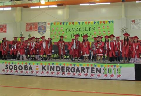 Twenty-two five- and six-year-olds were celebrated for completing kindergarten at the Soboba Tribal Preschool on June 13