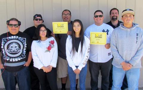 Seven Noli Indian School students recently completed a job-training program sponsored by GRID Alternatives. From left, Gilbert Vallejo, Raymond Barsz, Erika Modesto, Steve Medina, Sabrina Smestad, Jesy Sigler, Noli science teacher Jay Dagostino and Gabriel Gomez
