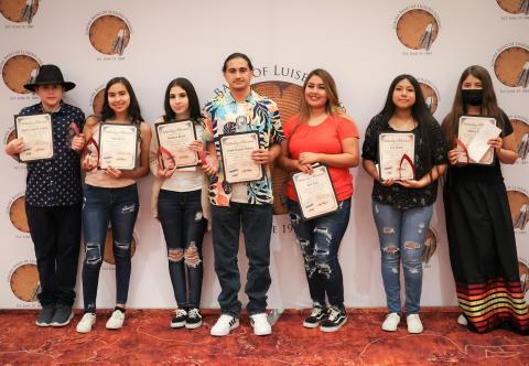 Students receiving Silver Achievement awards on July 25 are, from left, Agustin Salgado-Galvan, Luisa Rivera, Francisca Rivera, Frank Manuel Moreno, Jocie Yepa, So'a Nelson and Tatiana Briones