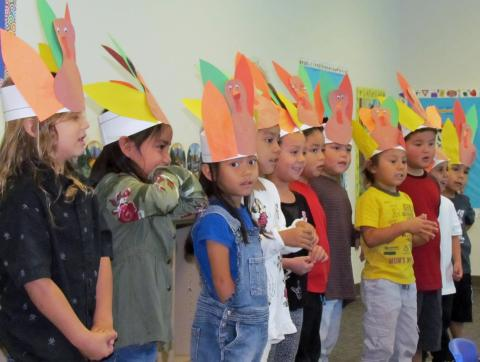 Soboba Tribal Preschool Pre-Kindergarten students performed a song for family members before enjoying turkey and all the trimmings on Nov. 16, prior to a weeklong holiday break