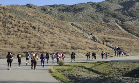 Participants make their way up the first hill during a past Soboba Trail Race