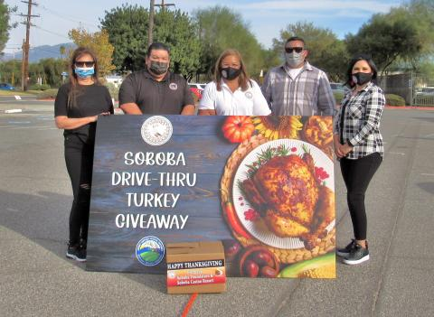 Soboba Foundation and Tribal Council members volunteered at Hemet Unified School District for the Soboba Drive-Thru Turkey Giveaway on Nov. 20. From left, Foundation Treasurer Julie Parcero, Tribal Council Chairman Isaiah Vivanco, Foundation President Dondi Silvas, Tribal Council Sergeant at arms Daniel Valdez and Tribal Council Secretary Monica Herrera
