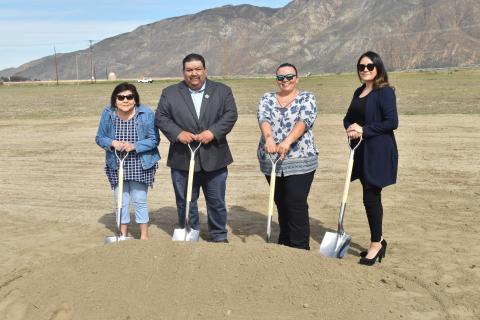 Soboba Tribal Council members turn the first shovels full of dirt at the Luiseño Village groundbreaking ceremony on Feb. 27. From left, Sergeant at Arms Rose Salgado, Vice Chairman Isaiah Vivanco, Treasurer Kelli Hurtado and Secretary Monica Herrera
