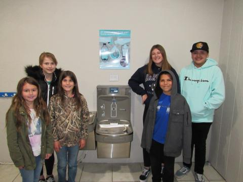 Student council members at one of the bottle filling/drinking fountain units installed at St. John's School in Hemet. The students recognized a need to be more environmentally conscious and the school found a solution, thanks to a grant from the Soboba Foundation