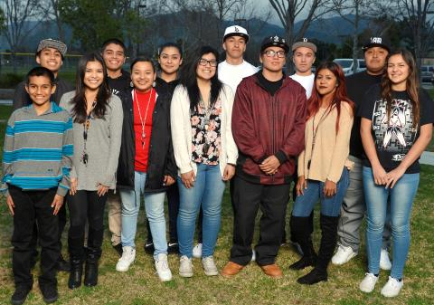 Members of the Soboba Youth Council including officers, starting in front row, third from left, Lynnae Rhodes, Emma Arres, Junior Medina, Autumn Vivanco and Asona Arres